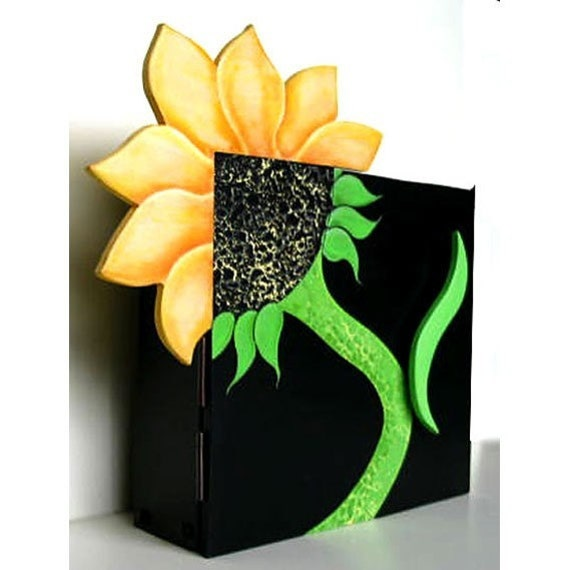 Sunflower cabinet shelf cupboard hand made hand by EphemeraAndMore