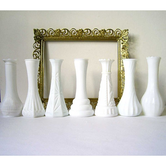RESERVED FOR WOODKIRK11 , INSTANT COLLECTION, Milk Glass Vase, lot of 7, vintage decor, wedding decor, cottage decor, rustic decor, country decor, shabby chic, vintage white glass