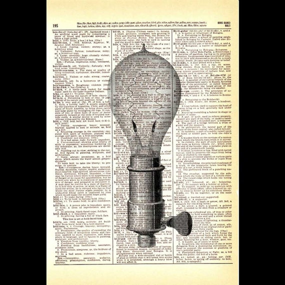 LIGHT BULB Edison Incandescent Electricity Science art print wall decor vintage illustration on dictionary text book page black white 8x10