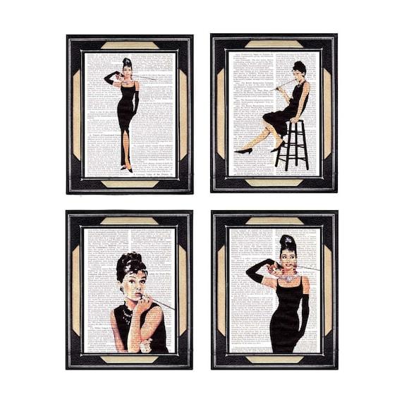 AUDREY HEPBURN 4 art prints set Breakfast at Tiffanys actor actress retro movie cinema on vintage dictionary book page wall decor poster 5x7