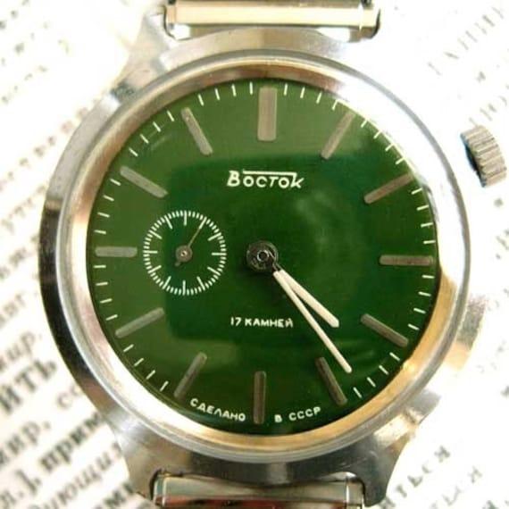 Soviet Mechanical windup Watch VOSTOK, Russian wristwatch USSR, 1.25 inch diameter green face, chrome steel body, second display, 17 jewels, shock protection