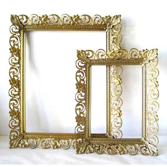 Vintage Filigree Frame Victorian Wall Decor Golden Ornate