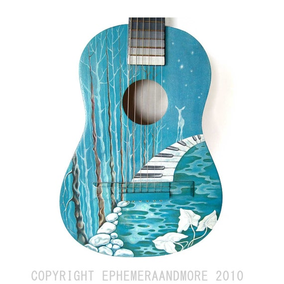 ORIGINAL ART on GUITAR, Music Amongst the Trees, forest landscape lake piano deer, 3d altered hand painted guitar, blue green turquoise