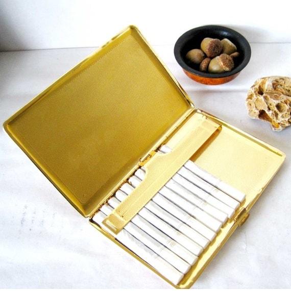 CIGARETTE CASE brown leather and golden interior, retro cigarette holder, wallet, 3.75x5.75 inches