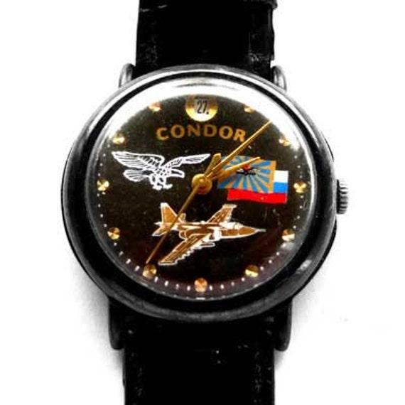 Russian Windup Mechanical  watch wristwatch CONDOR BLACK military plane and Russian flag, windup watch, retro mens watch