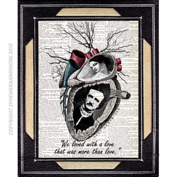 Edgar Allan POE and Virginia art print Love Quote Heart steampunk horror literature wall decor on vintage dictionary book page 8x10, 5x7