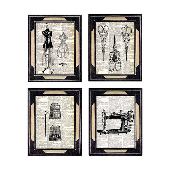 SEWING art prints Victorian scissors thimble dressform sewing machine on vintage dictionary book page black white wall decor 8x10, 5x7