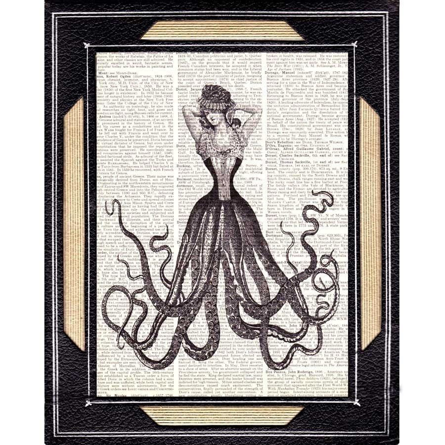 Octopus woman art print wall decor victorian fashion steampunk for Victorian wall decor