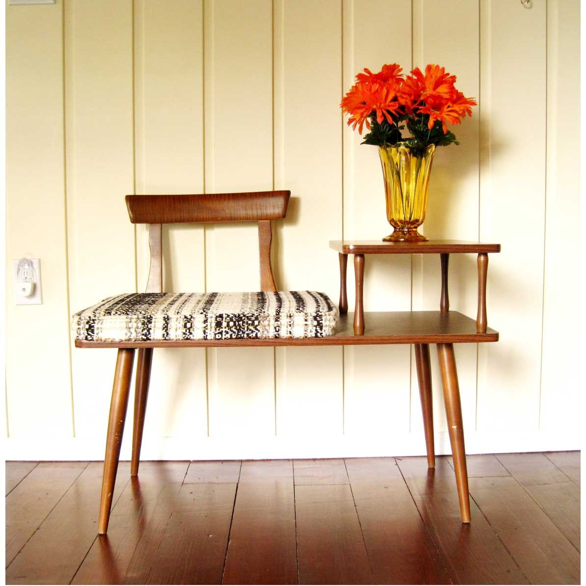 Mid Century Telephone Table With Seat Beige Brown Phone