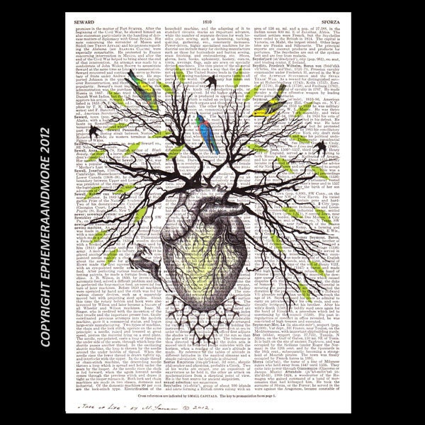 human heart as tree of life art print by ephemeraandmore