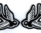 Swallow patch Tattoo style Pair of white (more and custom colors available) by Dolly Cool