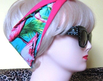 Flamingo Hair Tie Hot Pink Rockabilly Head Scarf by Dolly Cool