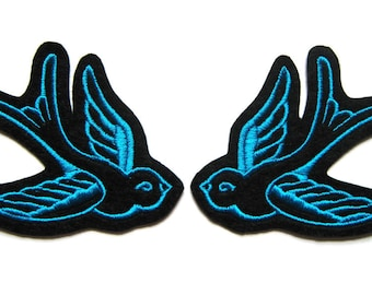 Swallow patch Tattoo style Pair of Turquoise (more and custom colors available) by Dolly Cool