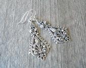 Antique Silver Filigree Earrings - Chandelier Bohemian Earrings - Bohemian Jewelry - Bridesmaid Earrings