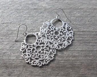 Boho Silver Filigree Earrings - Beach Wedding Jewelry - Bohemian Earrings - Christmas Gift for Her