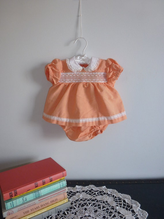 Orange Smocked Baby Dress