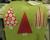 Christmas Kitchen Towel - Applique and Handsewn - Perfect Hostess Gift - littldetails