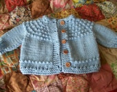 BABY BLUE  Soft Hand  Knit Baby Sweater 0-3 Mos. For Baby or Doll
