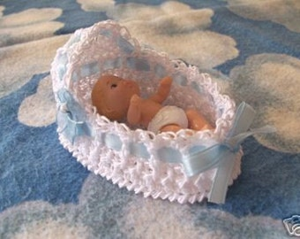 Miniature ooak Thread Crochet bassinet 3 inch HEIDI OTTblue