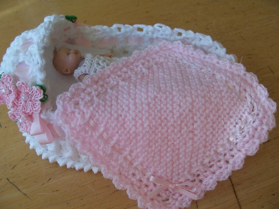 """Soft knitted and crocheted dollhouse blanket 4.25"""" Pink  with ribbon"""