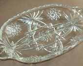 Vintage 1960s - Anchor Hocking Prescut Divided Glass Dish