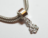 1 x 925 sterling silver rose pendant charm 19mmx4mm(12207pend)