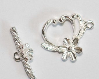 1 x 925 sterling silver flower toggle clasp14.5mmx22mm (12077clsp)