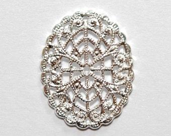 1 x 925 sterling silver filigree dangle 16mmx21.5mm (12132chad)