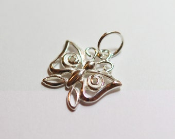 1 x 925 sterling silver butterfly pendant/charm16mmx9.5mm (12202pend)