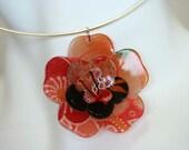 Peach Kimono Fabric Sakura Necklace ring \/ Choker