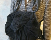 Black suede and leather pouchy shoulder bag with suede roses flap by Holt Renfrew made in Italy