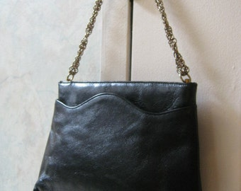 Vintage thick black leather shoulder bag small black leather bag with chain by Triangle, special event smaller black bag