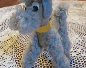 Vintage retro mall stuffed animal, small standard French poodle stuffed animal, little French poodle with red beret made in Japan