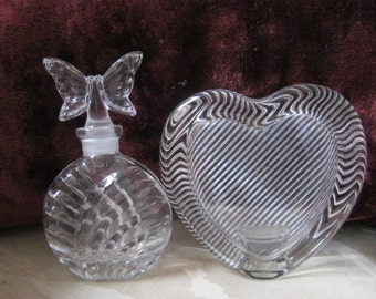 Vintage 2 piece crystal set, crystal Mikasa heart picture frame, clear crystal butterfly perfume bottle, crystal vanity accessories,