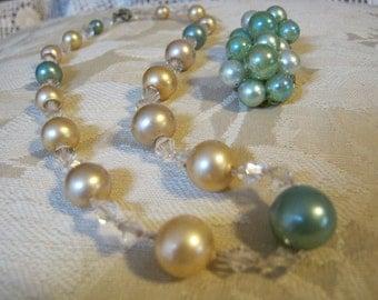Vintage  pale aqua cream beig faux pearl  crystal necklace, light aqua faux pearl  clip bead earring set Japan