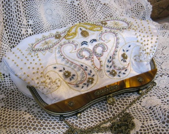 Vintage white silk larger multi bead bag, beaded off white evening bag, bag with coppery lucite frame and chain, larger brides bag