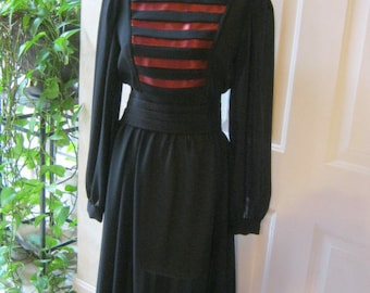 Vintage black poly crepe semi sheer dress, black dress with copper ribbon bodice detail, military look black copper dress size 9 or 10