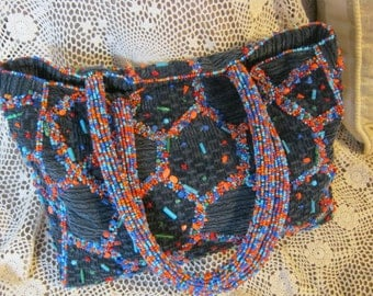 Vintage boho hippie navy blue wide whale corduroy handbag, multi color beaded and colored corduroy tote bag