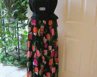 Vintage flowered skirt maxi dress, black top dress with mod flower tulip print skirt, patio party maxi dress size M