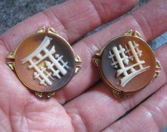 Vintage oriental inspired cuff links, stone look cuff links Asian image, rust beige grey tones round cuff links