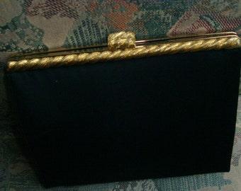Vintage black evening bag with gold braid top, black dressy clutch bag with back hand grip, After Five USA formal black purse clutch