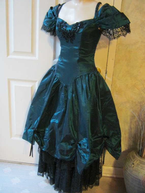 RESERVED SAMANTHA        Very dramatic very noir very Helena Bonham-Carter dark teal Southern belle gown with black lace skirt and trim sz S
