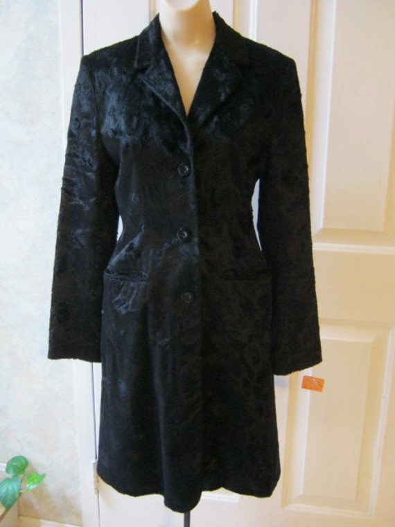 Faux black rabbit fur sleek fitted coat size 6 Made in England