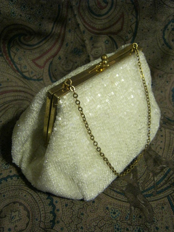 Vintage small  ivory beaded evening bag, glimmery ivory bugle bead bride's bag,  framed pouchy evening or brides bag with tiny chain, Magid