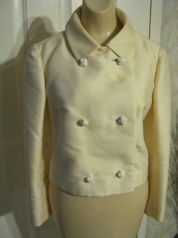 Vintage antiqued beige short dressy jacket, golden beige double breasted fancy jacket, dressy jacket ornate buttons made in Italy sz S