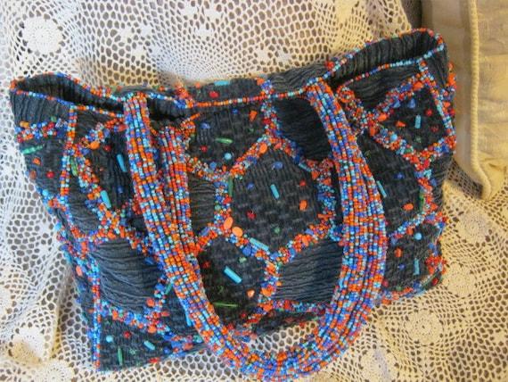 Vintage boho hippie navy blue wide whale corduroy handbag, multi color beaded and colored corduroy tote bag