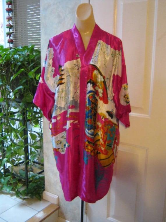 Silky multi color wrap robe kimono style Oriental imagery
