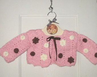 HALF-OFF SALE: 50% off Baby girl sweater in pink cream brown - from my published book