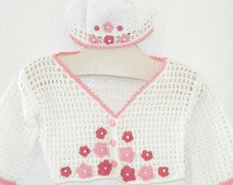 HALF-OFF SALE:  Baby girl summer cardigan and cap in white pink rose Size 12 months Flowers