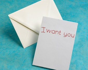 Embroidered Card, I Want You